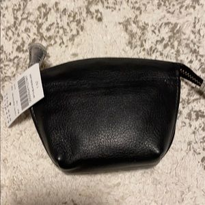 Barney's New York black leather coin purse